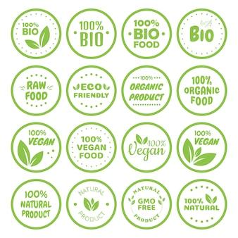채식 식품 로고 라벨 및 태그. 채식 에코, 천연 제품 녹색 개념. 손으로 그린 그림입니다.