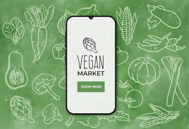 Vegan food market banner with smarthphone