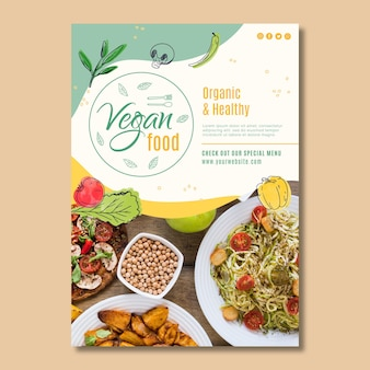 Vegan food poster template