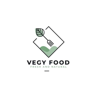 Vegan food restaurant logo template