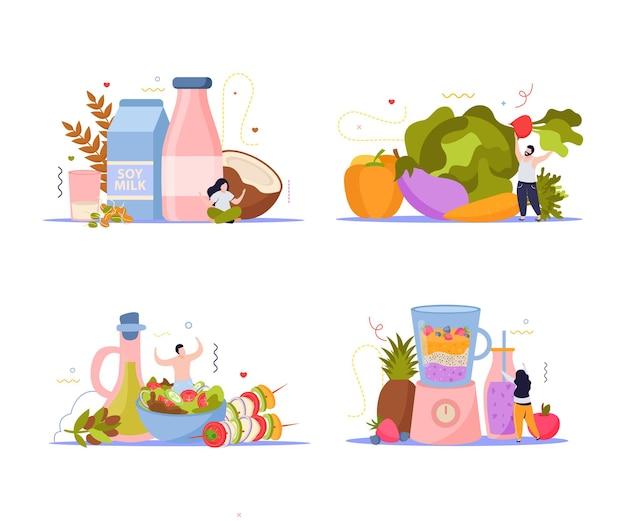 4 개의 분리 된 구성의 비건 음식 세트