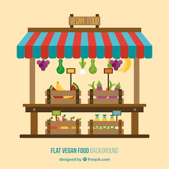 Vegan food shop background