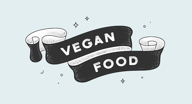 Vegan food. vintage ribbon with text vegan food. black white vintage banner with ribbon, graphic design. old school hand-drawn element