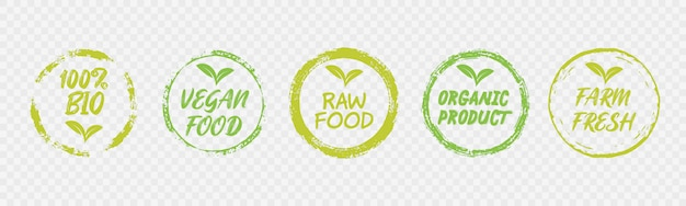 Vegan healthy ecology bio emblem design
