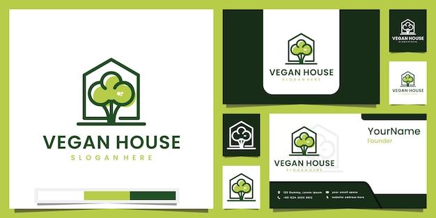 Веганский дом здорового питания с вдохновением для дизайна цветного логотипа