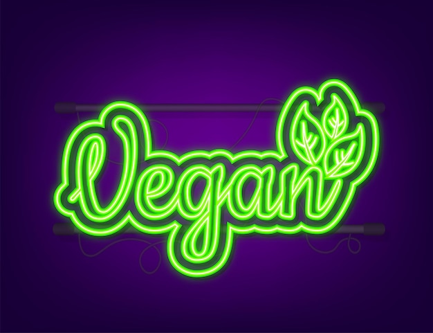 Vegan icon design. green vegan friendly symbol. neon icon. vector illustration.