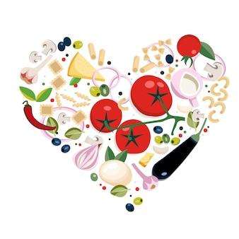 ビーガンイタリアのさまざまな種類のパスタ成分。ハートの形の概念。メニュー、バナー、チラシ、カード、プロモーションに最適です。イタリア料理フラットオブジェクト、シンボル、アイテムのセット。ハート形構成
