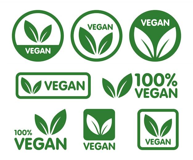 철저한 채식주의 자 상표 세트. 바이오, 생태학, 유기농 로고 및 태그