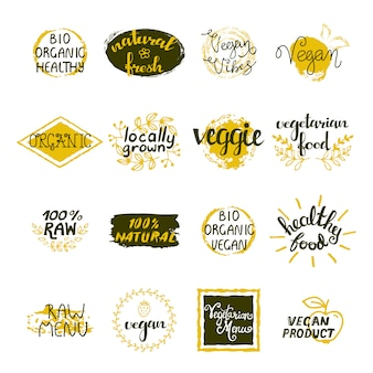 Vegan labels set of bio organic healthy and natural food elements in retro style isolated vector illustration