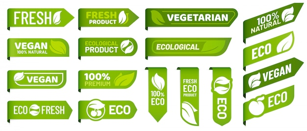 Vegan mark labels. fresh vegetarian products, eco organic food and recommended healthy product sticker badges   set