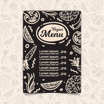Vegan menu design and seamless pattern
