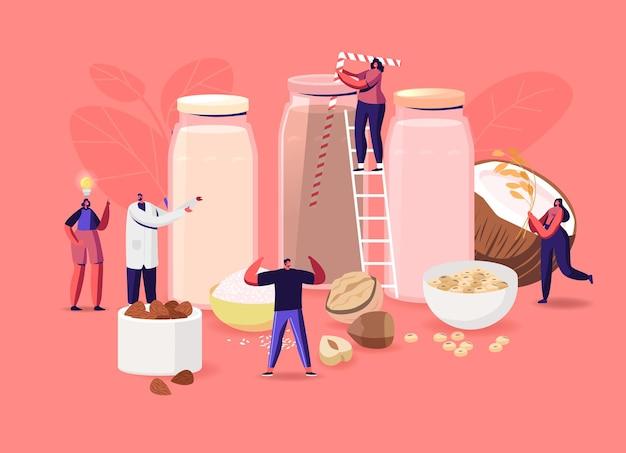 비건 우유 개념입니다. 견과류, 오트밀, 쌀, 콩으로 만든 다양한 유기농 비 유제품 음료가 있는 작은 남성 및 여성 캐릭터. 건강 관리, 다이어트 및 영양. 만화 사람들 벡터 일러스트 레이 션