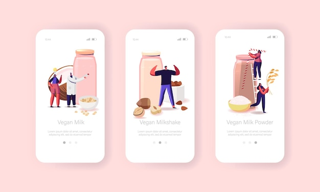 Vegan milk mobile app page onboard screen template.