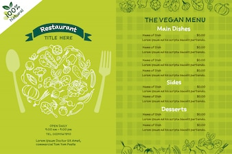 Vegan organic food menu.