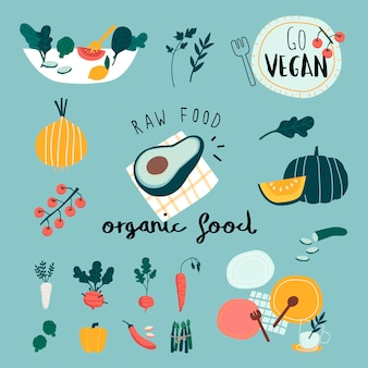 Vegan organic food set vectors