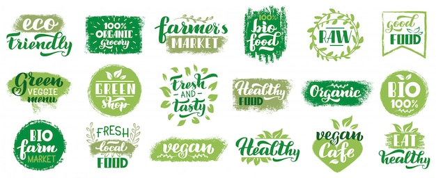 Vegan organic labels. vegetarian food eco badges, vegan healthy lettering stamp, fresh market ecological food   symbols set. eco emblem, natural lettering stamp, organic illustration