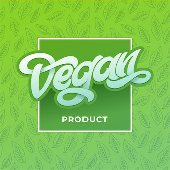 Vegan product typography with square frame. organic healthy logo labels, hand lettering and light green color design for vegan society poster. handwritten lettering for restaurant, cafe menu.