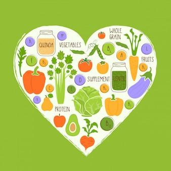 Vegan restaurant healthy food in  a heart