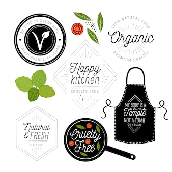 Vegan restaurant logo collection