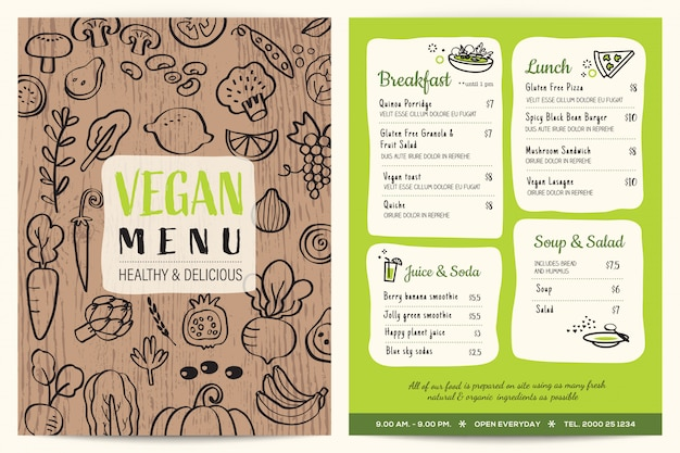 Vegan restaurant menu with wooden texture
