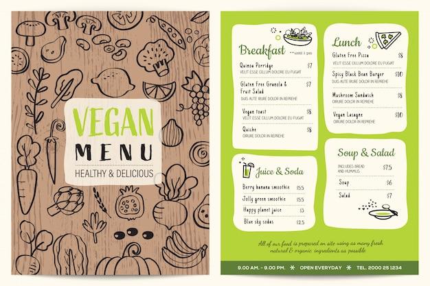 Vegan restaurant menu with wooden texture Premium Vector