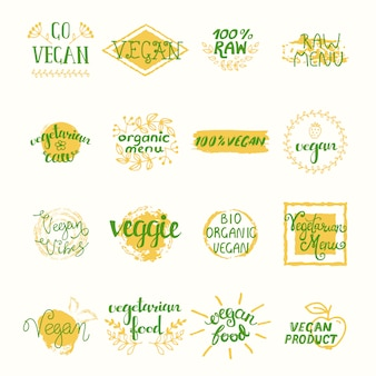 Vegan retro elements set of labels stickers tags badges