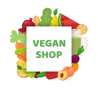 Веганский магазин, здоровое питание баннер иллюстрации. вегетарианская диета мультфильм, органический зеленый рынок и натуральное питание.