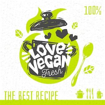 철저한 채식주의 자 수프 사랑 심혼 로고 신선한 유기 조리법 100 %. 손으로 그린.
