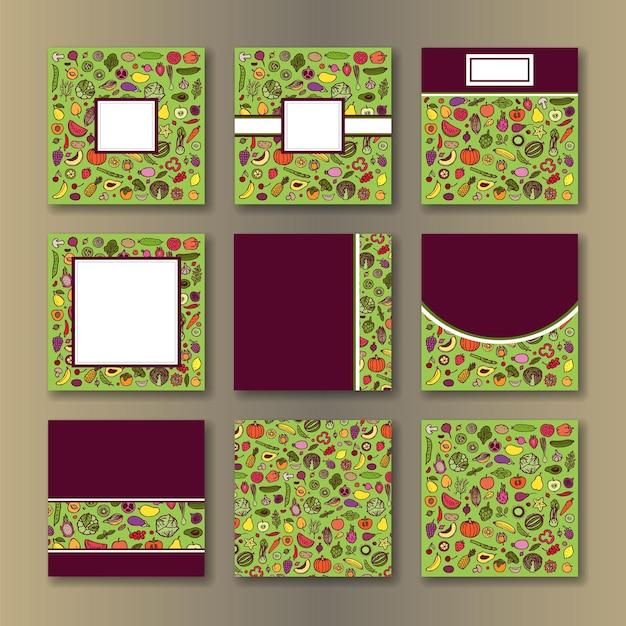 메뉴 포스터 표지를 위한 채식주의 템플릿 세트