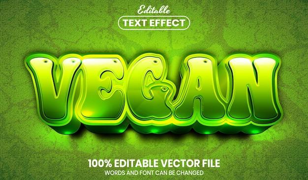 Vegan text, font style editable text effect