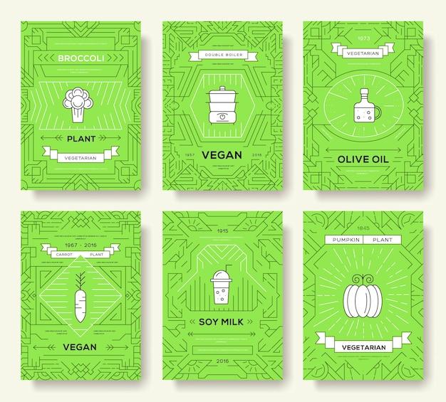 ビーガンベクトルパンフレットカードセット