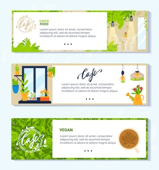 Vegan vegetarian green cafe vector illustrations. cartoon flat banner collection with modern interior and furniture of veggie cafeteria or restauran