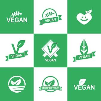 Шаблон vegan логотипы