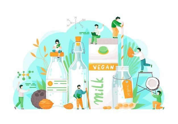 Концепция веганства. вегетарианский миндальный овсяный рис, соевая и лесная вода. молочное стекло. здоровый образ жизни