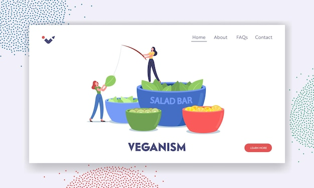 Veganism landing page template. tiny characters stand at huge bowl with salad in vegetarian bar. people eating vegetables and fruits in vegan buffet. healthy nutrition. cartoon vector illustration