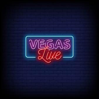 Текст в стиле неоновых вывесок vegas live