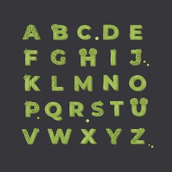 Овощной дизайн алфавита