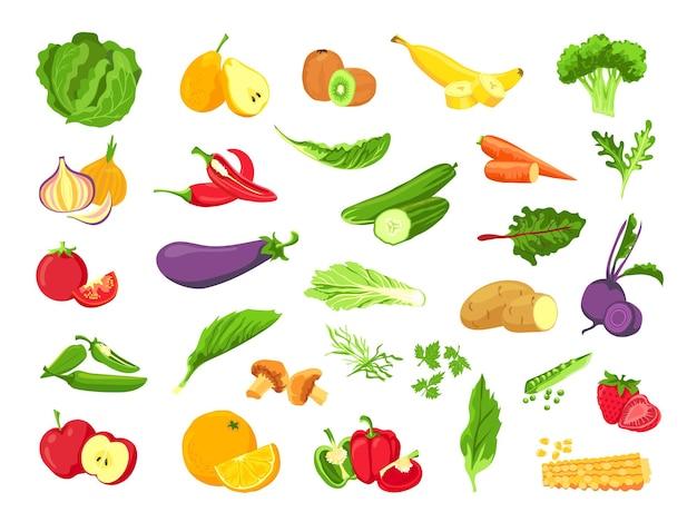 Овощи и фрукты. свежие вегетарианские блюда, овощи, салат, зелень, тропические фрукты и ягоды. набор векторных здоровой веганской фермы. вегетарианское сельское хозяйство, помидоры и огурцы, перец и чеснок иллюстрации