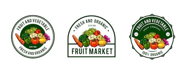 野菜と果物のロゴのテンプレートデザイン