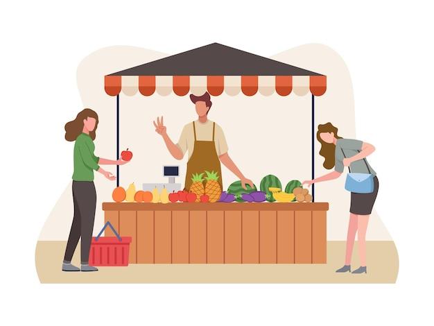 野菜と果物の売り手