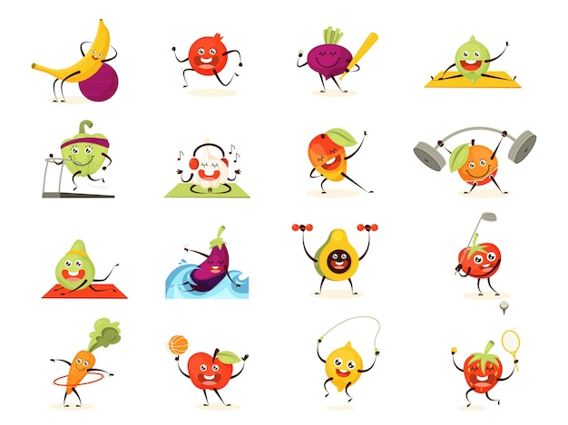 野菜と果物のトレーニングセット。スポーツ運動を行う食品キャラクターのコレクション。変な顔。ダンベルで瞑想とトレーニング。漫画のスタイルのイラスト