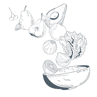 野菜と果物のボウル手描き