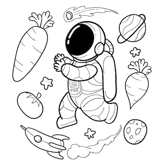 Vegetable astronauts are funny hand drawn