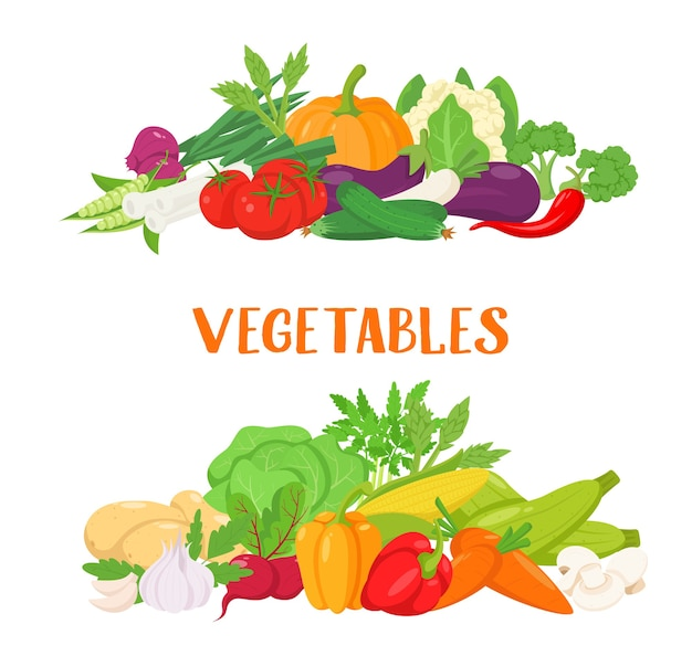 Vegetable banners in cartoon style