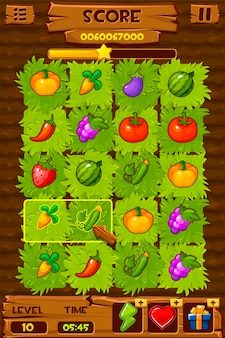Vegetable beds, farm field with green bushes for a game match. illustration of a complete design with berries and fruits.