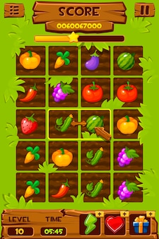 Овощные грядки, элементы игрового интерфейса, 2-мерные игровые иконки для игры 3 в ряд. иллюстрация графического интерфейса фермы, ягоды и фрукты растут.