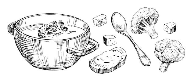 Овощной суп с брокколи. рисованной иллюстрации.