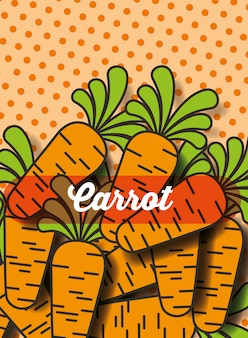 Vegetable carrot on the dotted background