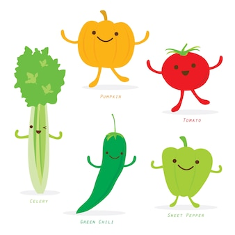 Vegetable cartoon cute set character vector