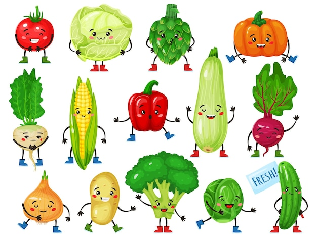 Vegetable characters cute broccoli tomato pumpkin cucumber corn cabbage with smiling face mascots